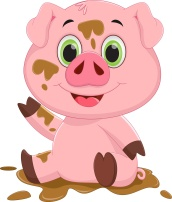 Cartoon pig play in mud